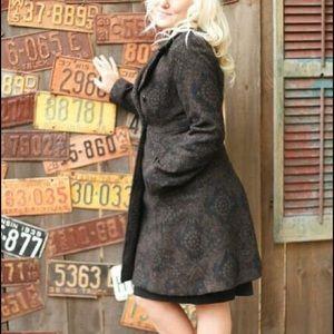 Merona Peacoat long patterned wool/poly (S) vtg